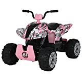 Uenjoy 24V Kids ATV 4 Wheeler Ride On Quad Battery Powered Electric ATV for Girls, 4-Wheel Suspension, 2 Speeds, LED Lights, Music, Camouflage Pink