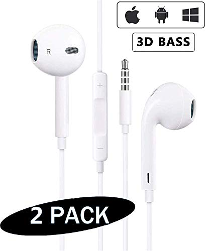 【2Packs】for iPhone Earphone with 3.5mm Headphone Plug...