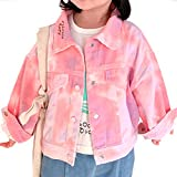 Baby Girls Jean Jacket Casual Ripped Denim Coat Little Kids Long Sleeve Bright Tie-dye Denim Jacket for Baby Girls Christmas Gifts Button Down Autumn Fall Jean Outwear Pink 2-3 Years