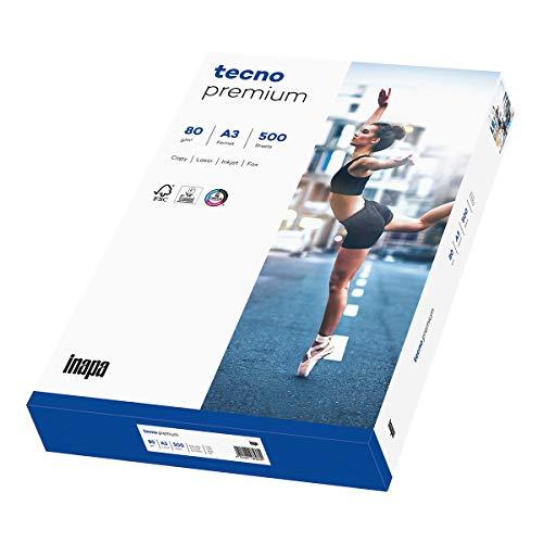Inapa Tecno Premium - Papel para impresora (80 g/m², A3, 500 hojas), color blanco