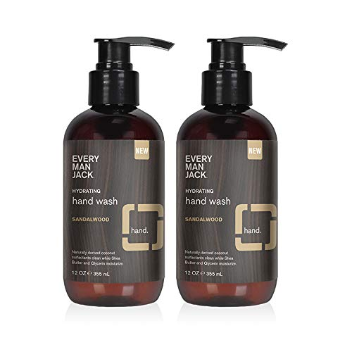 Every Man Jack Hand Wash - Sandalwood  12-ounce Twin Pack - 2 Bottles Included   Naturally Derived, Certified Cruelty Free, Gluten Free ,Vegan