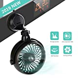 Battery Operated Kitchen Fan with Suction Cup, 2000mAh Capacity Rechargeable Wall Fan, Personal USB...