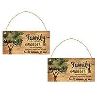rosenice 2ピース私たち家族のような木の木の枝ぶら下げサイン木製プラーク壁アートサイン装飾