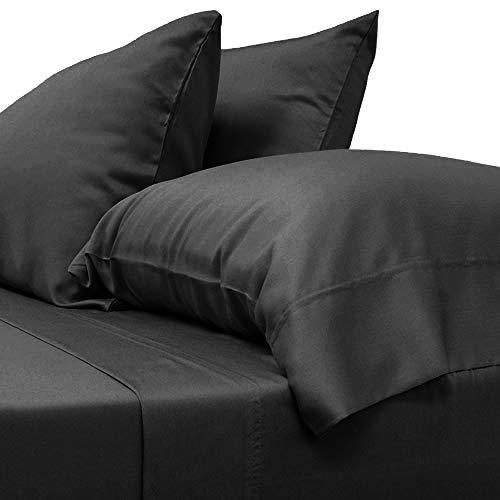 "LINENWALAS Organic Cotton Pillowcase Set 2 PC - 100% Natural Softest Coolest Bedding (Charcoal Gray, King 20""x 40"")"