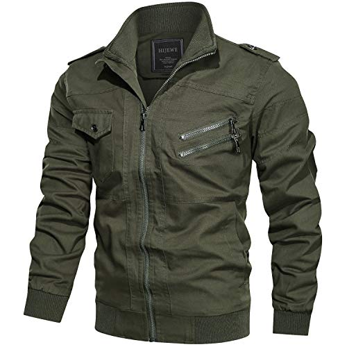 HIJEWE Men's Military Jacket Outdoor Lightweight Cotton Casual Bomber Coat (Army Green, Large)