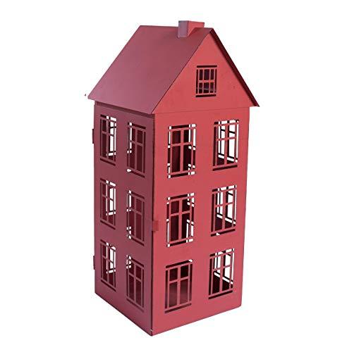 Home&Decorations Lanterna portacandela Antivento in Metallo a Forma di casa 20,7 x 19,5 x 47,5 cm, Rossa o Bianca