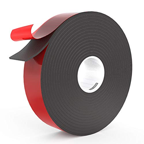LLPT Double Sided Foam Tape 1 Inch x 50 Feet Multiple Sizes for Automotive Car Trim Strip Gap Filling Mountings Outdoor Indoor Weatherproof Adhesive