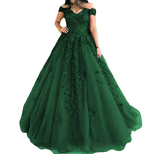 P.L.X Damen Lange Spitze Vintage Brautkleider Gothic Abendmode Hochzeitskleider