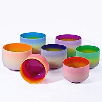 440HZ 6 -12  Set of 7 PCS Quartz Rainbow Crystal Singing Bowl Set Sound Healing