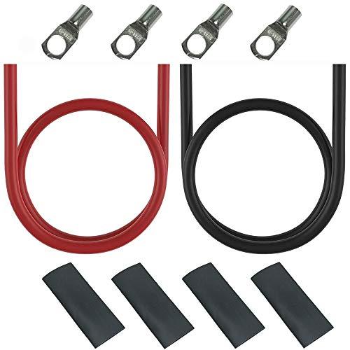 CTRICALVER Cable Bateria, Cobre Estañad Cable Cables de Inversor de Potencia, 6 AWG /16mm² 100cm Rojo Cable y 100cm Negro Cable