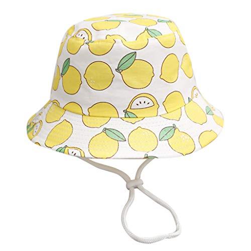 ERUYN Verano Algodón Acogedor Bebé Sombrero para el Sol Gorra para niños Niños Unisex Playa Niñas Sombreros de Cubo Dibujos Animados Gorros para bebés Protección UV Limón Blanco