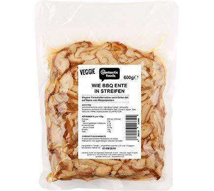 Vantastic foods Vegane BBQ Ente in Streifen 600g- Veganer Fleischersatz - Fleischalternative vegan - Vegetarisch - Seitan - 100 % pflanzlich