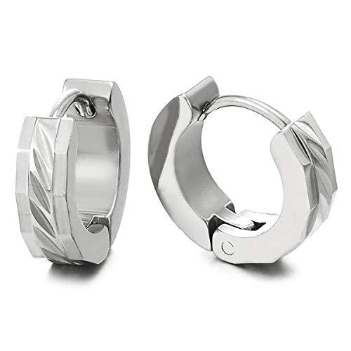 Paar Facettiert Creolen für Herren Damen, Edelstahl Huggie Ohr Manschette Ohrringe mit Rillen Laser-Muster