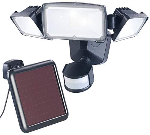Luminea Solar Scheinwerfer: 3-Fach-Solar-LED-Fluter für außen, PIR-Sensor, 32 W, 1.500 Lumen, IP44 (LED Strahler mit Bewegungsmelder)
