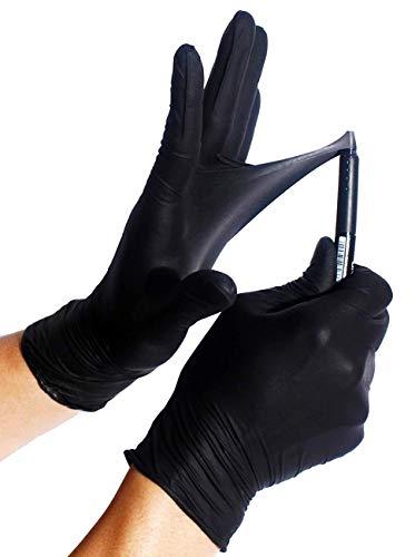 100x Robusto Guanti in nitrile - Extra Safe Guanti Monouso Senza Polvere Senza Lattice AQL 1.5 Lavoro Pesante Meccanica Industria Chimica Lavastoviglie Pulizia (M (7-8), Nero)