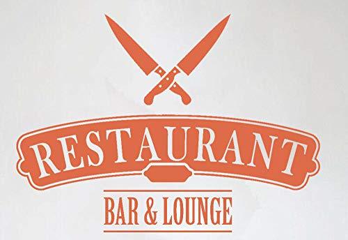 Axlgw Restaurant Signboard muur Decal Lounge Zakelijke messen Cartoon Patroon Thuis Meubelen Decoratieve Verwijderbare Muursticker Grootte 58X42Cm