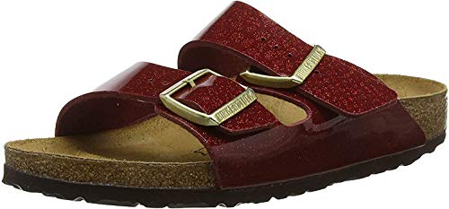 Birkenstock Arizona, Sandalias de Punta Descubierta para Mujer, Rojo (Magic Snake Bordeaux Magic Snake Bordeaux), 38 EU