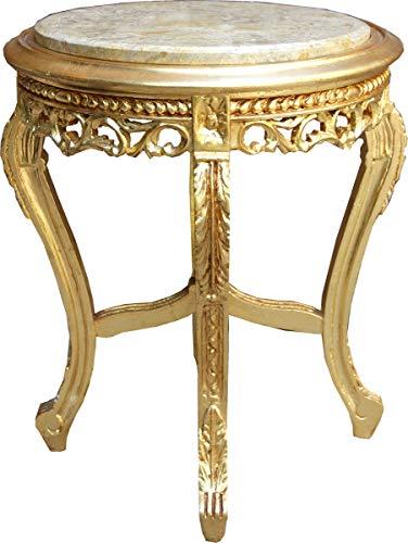 Casa Padrino Barock Beistelltisch Gold mit cremefarbener Marmorplatte 48 x 48 x H. 55 cm - Barockmöbel Beistell Tisch