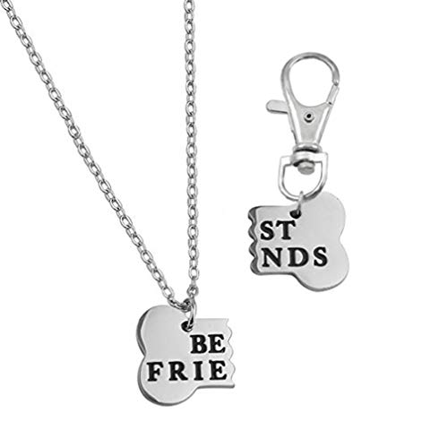 Best Friend Bone Necklace Matching Bone BFF Engraved Keychain Collar Dog Human Jewelry Set Pet Lover Gift Rose Gold Plated Stainless Steel