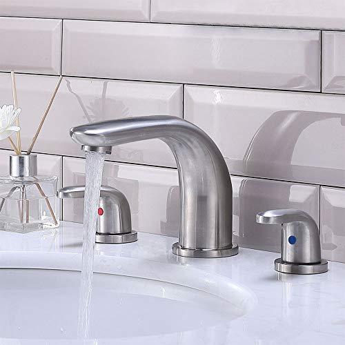 CASILVON Modern 3 Hole 2 Handle Stainless Steel Vanity Sink Brushed Nickel Widespread Bathroom Faucet, Bath Lavatory Bathroom Sink Faucet With Two 3/8
