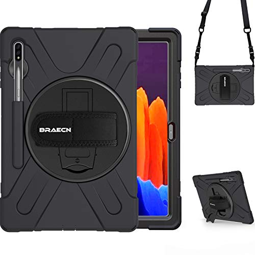 BRAECN Galaxy Tab S7 Plus Case,Galaxy Tab S7+ Case,Heavy Duty Shockproof Case with S Pen Holder Hand Strap Kickstand Shoulder Strap for Samsung Tab S7 Plus 12.4 Inch 2020 SM-T970 SM-T975 SM-T976-Black