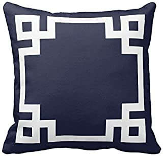 Navy Blue and White Greek Key Border Decorative Home Decor Square Indoor/Outdoor Pillowcase Cotton Throw Pillow Cover Case 16 In