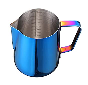 Joytata Milk Frothing Pitcher 20oz Stainless Steel Pitcher Perfect for Latte Art,Espresso Maker,Cappuccino Maker-18/8 Stainless Steel Milk Frother Pitcher 600ml Steaming Pitcher Blue Color