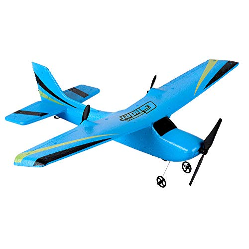 RC Airplane, Sacow A2.4G 2CH Gyro RTF Remote Control Glider 350mm Wingspan EPP Micro Indoor RC Aircraft (Blue)