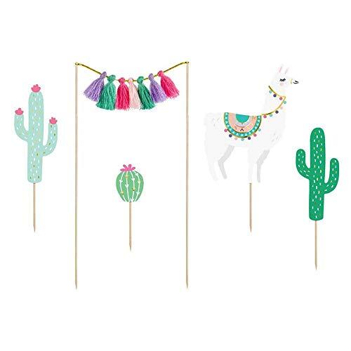 partydeco 1 Cake Topper Set Lama | 9-20 cm | Kaktus | Lama | bunt | Boho | Südamerika