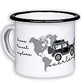 Overlander Mugs en émail de Haute qualité avec Motif Cool Offroad avec Tente de Toit et Carte du Monde – léger et incassable pour Le Camping, la Vanlife et Les Globetrotter – de MUGSY.de