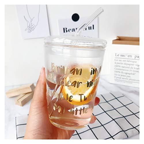 YSJSPOL Taza de Agua Taza de café Transparente de 500 ml Resistente al Calor Taza de café Transparente con Tapa de Dibujos Animados Leche Jugo de Jugo de Taza Taza Taza Taza de Viaje Taza de Agua