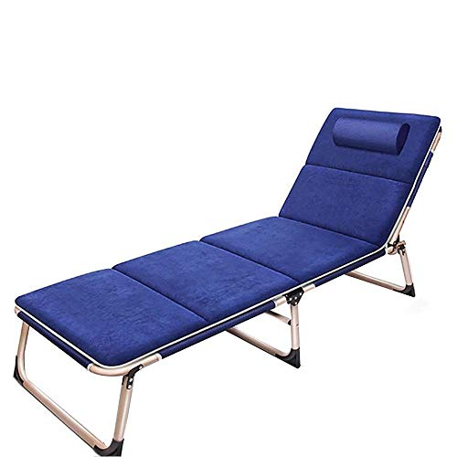 DSHUJC sun lounger Single Folding Bed Office Lunch Break Recliner Chair 3 Fold Outdoor Camping Bed Simple Accompanying Bed, Load 150kg