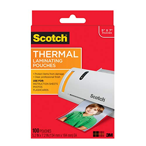 Scotch Thermal Laminating Pouches, 5 Mil Thick for Extra Protection, Professional Quality, 5 x 7-Inches, Photo Size, 100-Pouches (TP5903-100)