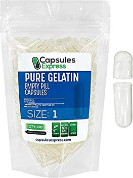 XPRS Nutra Size 1 Clear Empty Gelatin Capsules - 100 Count Pure Gelatin Pill Capsule - DIY Supplement Filling