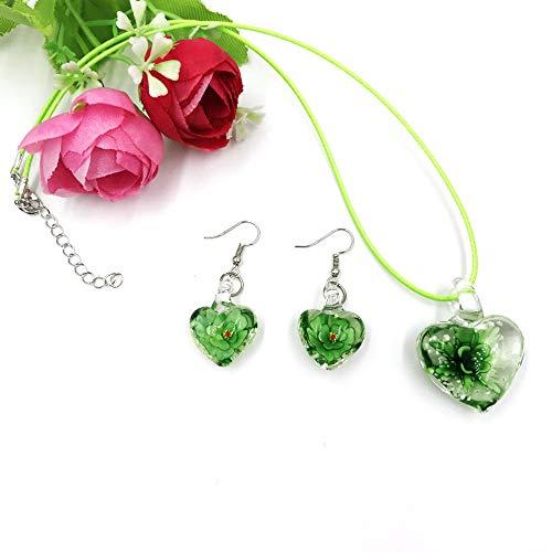 skyllc Pendientes y Collar Colgantes Hechos a maPendientes y Collar Colgantes Hechos a Mano de Cristal de Estilo Murano, Verde, corazón Afilado, 32 * 32 mm