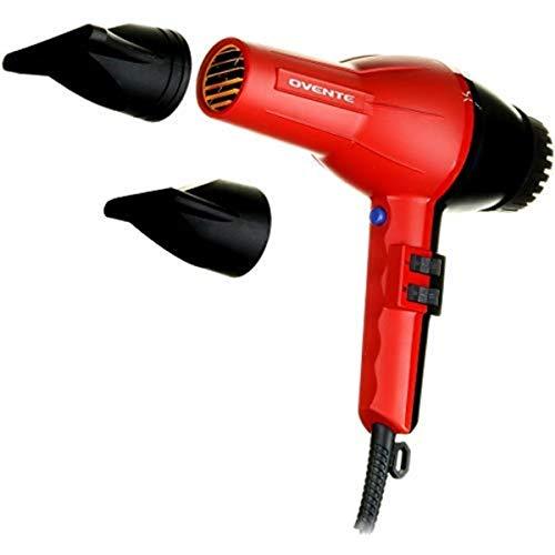 Ovente 3600 Seductive Ceramic Ionic Tourmaline Lightweight Professional Hair Dryer, Red