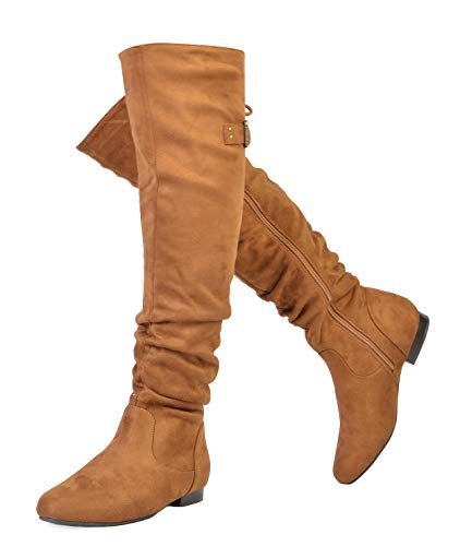 DREAM PAIRS Women's Colby Tan Over The Knee Pull On Boots - 7.5 M US