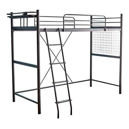 家具350 ロフトベッド ベッド シングルベッド パイプベッド 二段ベッド ハイタイプ ブラック 102021