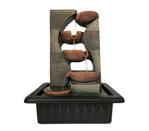Dehner Zimmerbrunnen Steinkrüge mit LED Beleuchtung, ca. 40 x 23 x 31 cm, Polyresin, grau/braun