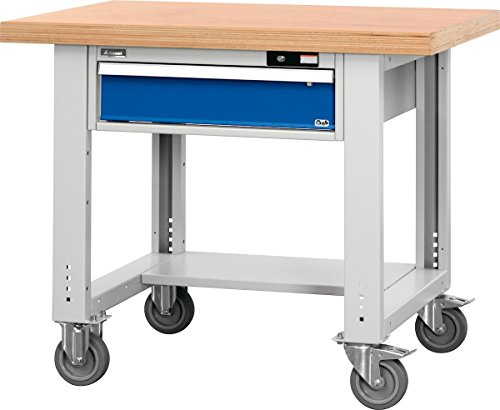 Universal-Werkbank fahrbar mit Ablageboden mit Buche-Multiplex-Platte 1000/1AM - 2