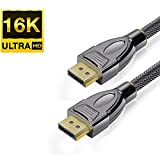 PremiumTech Cable DisplayPort 2.0 - Primer Cable 16K - Compatible con 8K 4K HDR Dolby Vision Atmos DTS:X para Monitores, Proyectores - 77.4Gbps Streaming, Soporte para Múltiples Pantallas