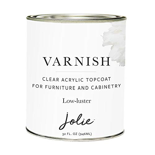 Jolie Varnish - Clear Acrylic Topcoat for Chalk Finish Paint - Use Over Jolie Paint, Stained, or raw Wood- Furniture and Cabinetry - Durable, Non-Yellowing - Low-Luster - Quart