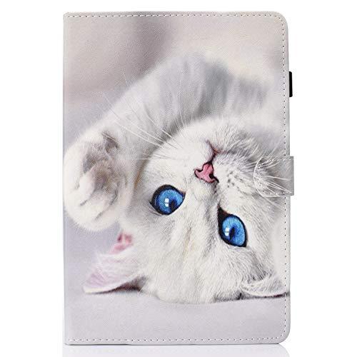 Jajacase Cover Custodia Compatibile con Samsung Galaxy Tab A 10.1 2016 SM-T580/T585 - Custodia Protettiva con PU in Pelle, Supporto e Multi-View -Gatto Bianco