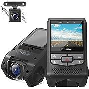 Crosstour Dual Dashcam Auto Vorne und Hinten FHD 1080P Mini Autokamera mit G-Sensor, Loop-Aufnahme, Parkmodus, Nachtsicht