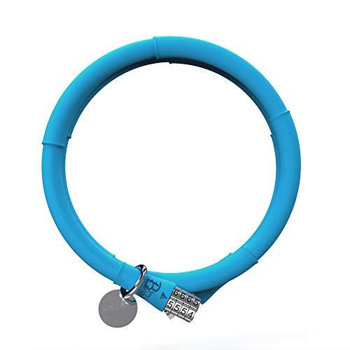 VOLO Bambus-Fahrrad-Kabelschloss, 4-stellige Spiral-Kombinationskabel, Fahrradschlösser, mit Silikon überzogenes Sicherheits-Diebstahlschutzschloss mit Durchmesser 13 mm x 100 cm (Pfauenblau)