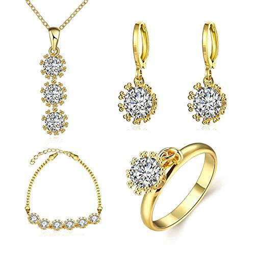 KnSam Juego de joyas chapado en oro con flores