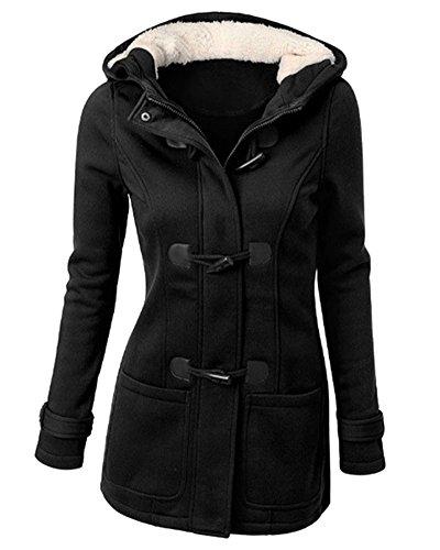 Mujer Invierno Abrigo Casual Sudadera con Capucha Chaqueta de Lana Capa Jacket Parka Pullover Negro M