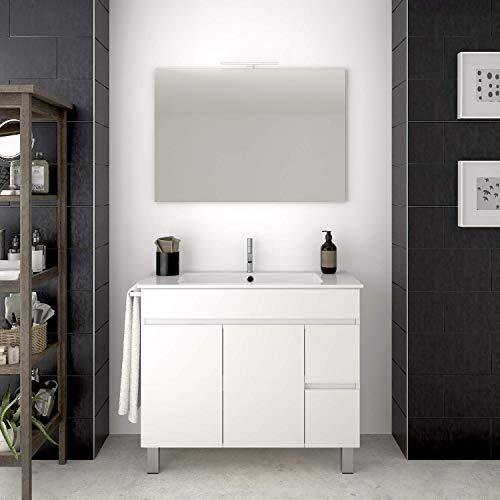 PDM Mueble de baño TEMIS con Espejo y Lavabo - 2 cajones con Tirador Gola y Espacio de almacenaje con Puerta. Toallero de Regalo - Blanco(70CM)