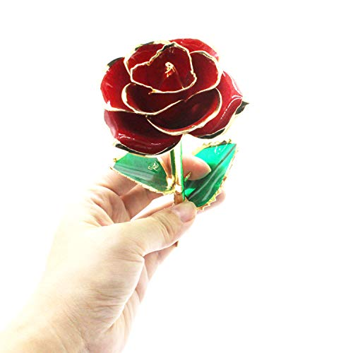 YUYIKES 9 Inches 24k Gold Rose Artificial Flowers Red Rose Flowers Artificial, Best Gift for Valentine's Day, Mother's Day, Anniversary, Birthday Gift, Home Wedding Decoration (24k Gold Rose)