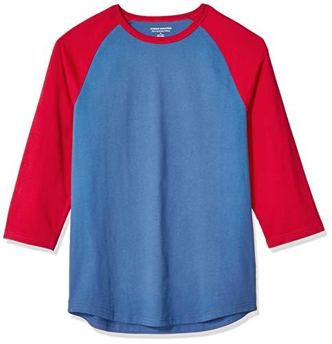 Amazon Essentials - Camiseta de béisbol para hombre (manga 3/4), Azul/Rojo, US M (EU M)